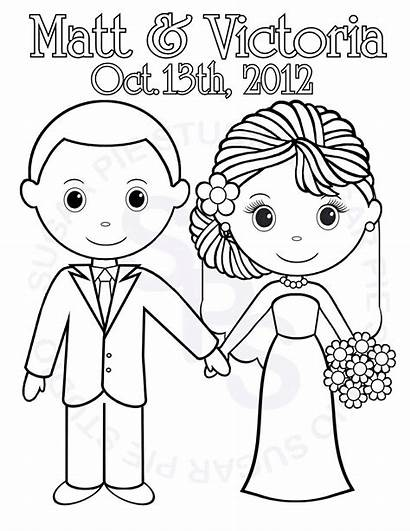 Coloring Printable Groom Bride Personalized Activity Books