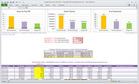 loan amortization calculator amortization table with extra payments excel