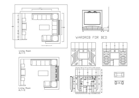 dwg file  living room layout  wardrobe detail cadbull