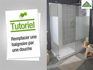 comment remplacer ma baignoire par une douche leroy With porte de douche coulissante avec marque vasque salle de bain