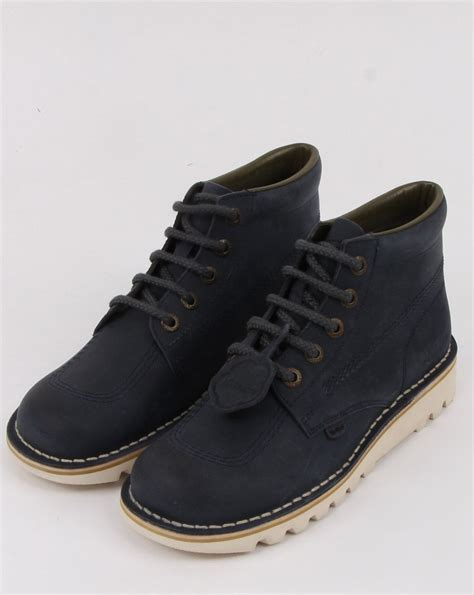 kickers suede hi boots in navy 80s casual classics