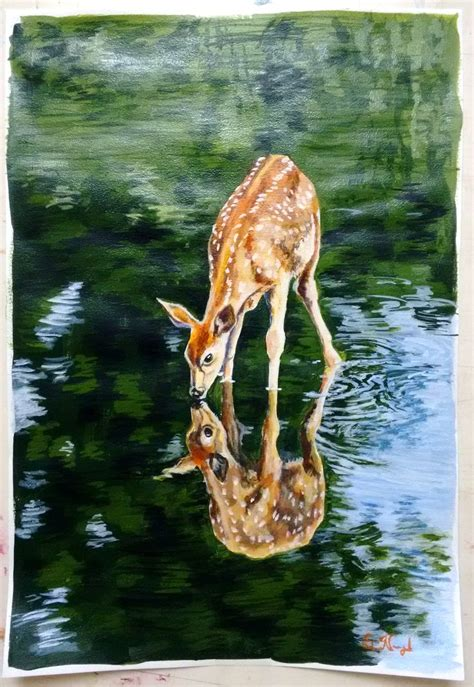 deer drinks water  deep forest stream acrylic painting