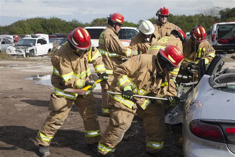firefighters practice rescue operations  jaws  life