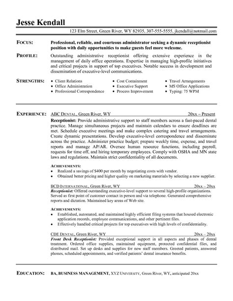 Exle Of Resumes 2017 by Office Receptionist Resume Exle 2017 28 Images 4