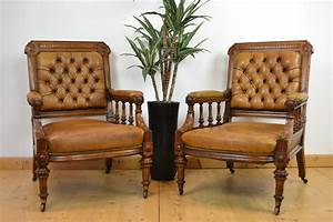 Antique, Leather, Library, Chairs, Armchairs, England
