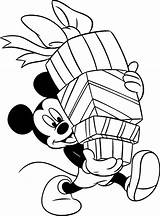 Coloring Christmas Mickey Mouse Pages Presents Mickeys sketch template