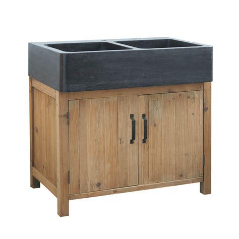 meuble evier cuisine meuble bas de cuisine avec évier en bois recyclé l 90 cm