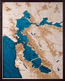 Large San Francisco Bay Area 3D Wood Map • Tahoe Wood Maps