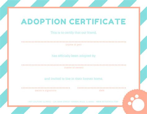 pink  blue pet adoption certificate templates  canva