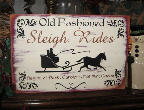 primitive christmas sign  fashioned sleigh rides horse