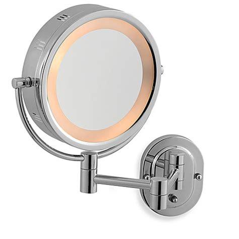 jerdon 5x 1x chrome lighted hardwired wall mount mirror bed bath beyond