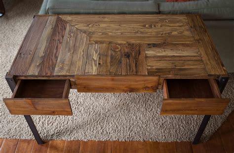 pallet wood desk  metal legs   drawers