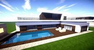 Minecraft modernes haus mit poolterrasse bauen 27x20 for Garten planen mit balkon zum wintergarten