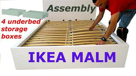 ikea malm bed frame assembly with 4 storage boxes white