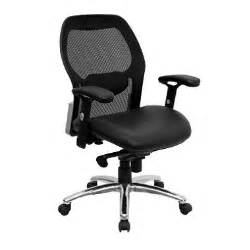 ergonomic mesh office chair with black leather seat sam