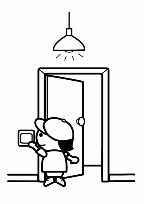 coloring page   energy efficient switch   lights  leaving  printable