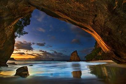 Cave Sunset Sea Clouds Landscape Nature Stars