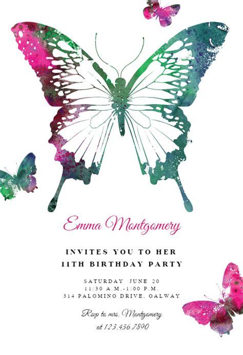 butterflies birthday invitation template