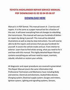 Toyota Highlander Repair Service Manual Pdf Download 01 02