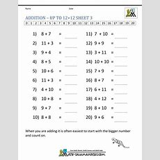 Learning Addition Facts Worksheets 1st Grade