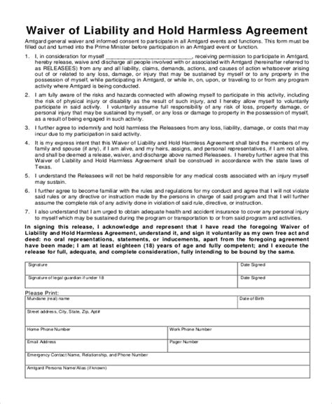 sample hold harmless agreement forms   ms word