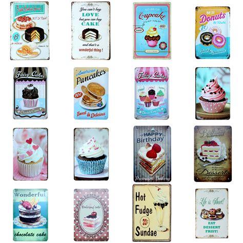 plaque deco cuisine retro vintage cake dessert metal tin signs retro home kitchen