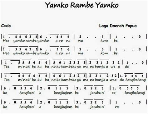 not pianika lagu doraemon not angka lagu e yamko rambe yamko lagu daerah pianika recorder keyboard suling