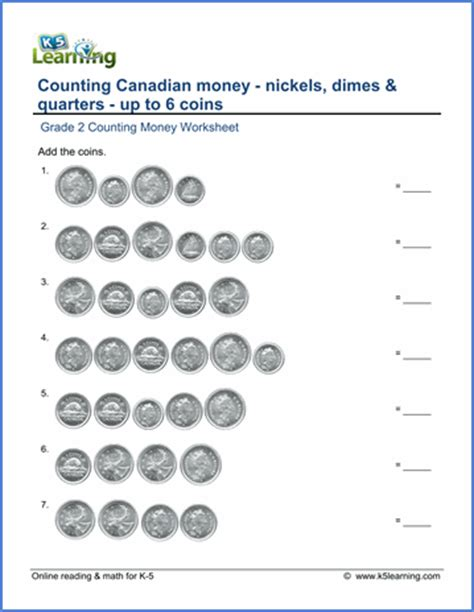 grade  canadian money worksheets  coin