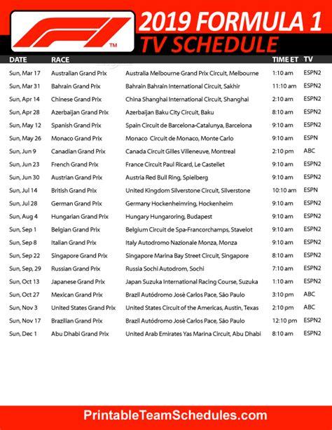 formula race calendar bazga