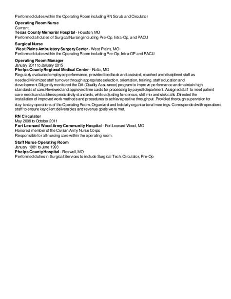 Pacu Rn Description For Resume by Jones Msn Rn Resume