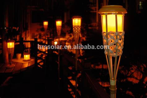 solar flickering tiki lights bamboo torch garden outdoor