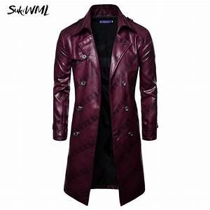 Trench Coat Homme Long : sukimwl trench coat homme 2018 new fashion mens long pu ~ Nature-et-papiers.com Idées de Décoration