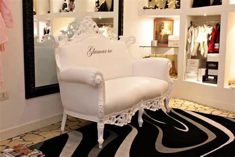 Divano Due Posti, Laccato Bianco, Stile New Barocco