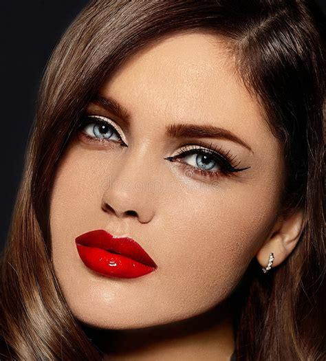 beautiful model  bright makeup  red lips stock image image  closeup creative
