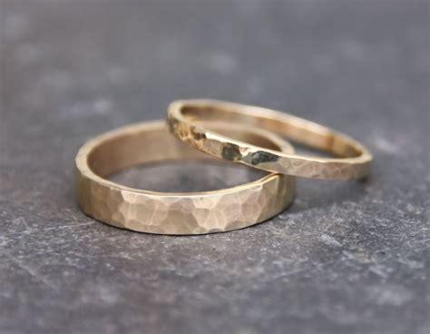 gold wedding ring set handmade 14k gold hammered eco