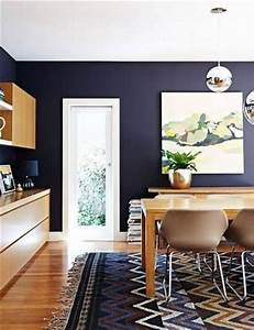 blue dining rooms dark blue walls and paint on pinterest With kitchen colors with white cabinets with round wood wall art