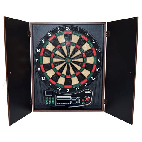 halex omega electronic dart board and cabinet set dart boards at hayneedle