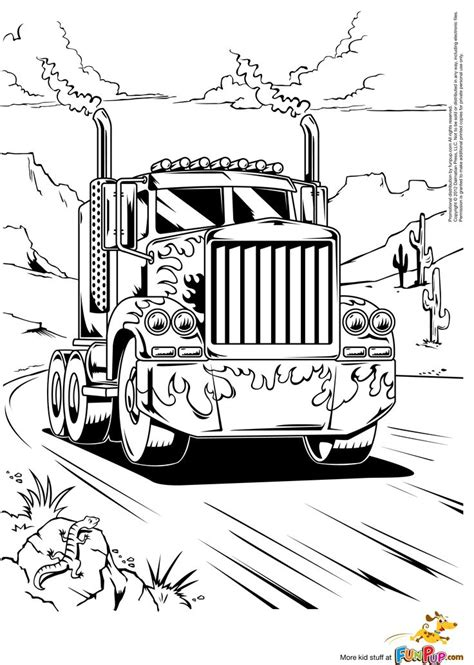 semi truck coloring pages    print