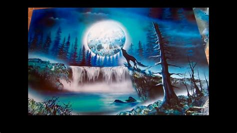 Wolf And Moon Spray Paint Art Youtube