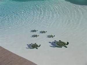 Sensational Decorative Pool Tile Sea Turtles with Green