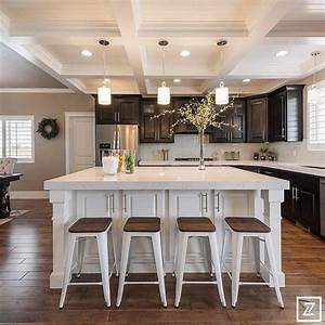 Elegant Kitchen With Coffered Ceilings With Tongue And