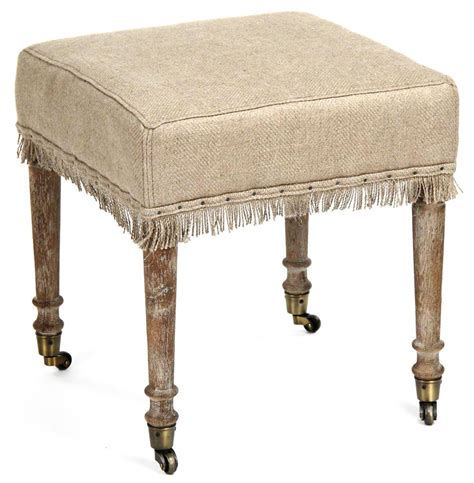Stools And Ottomans - alfreda country square burlap limed oak stool ottoman