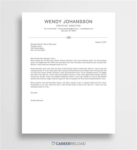 Template Of Cover Letter by Free Cover Letter Template Wendy Career Reload