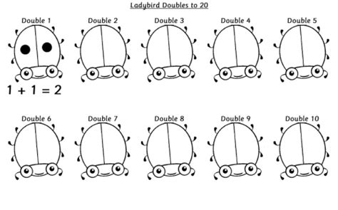 ladybird doubles to 10 worksheet ks1 primary