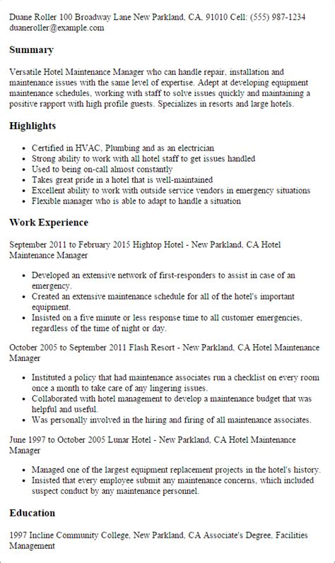 Building manager resume