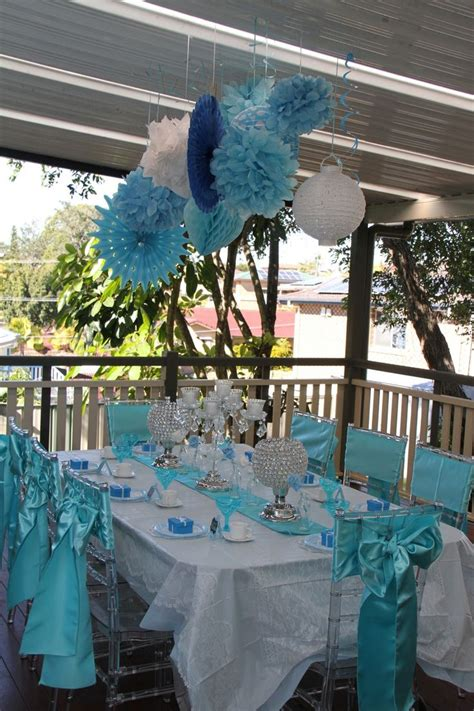 And Blue Birthday Decorations - vintage high tea blue table setting decorations