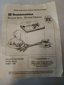 Toastmaster Bread Box Maker Machine Manual Model 1196