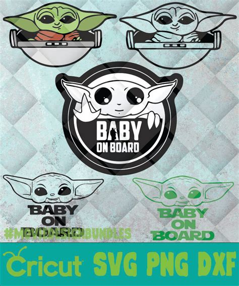 Nautical baby shower collection graphic by andreea eremia design. BABY YODA FACE BABY ON BOARD SVG, PNG, DXF, CLIPART FOR ...