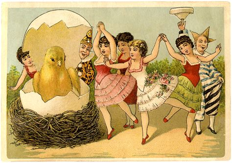 quirky vintage easter card  graphics fairy