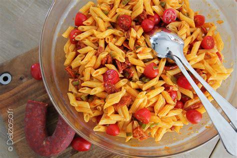 cuisiner des gambas salade de pâtes au chorizo par delizioso